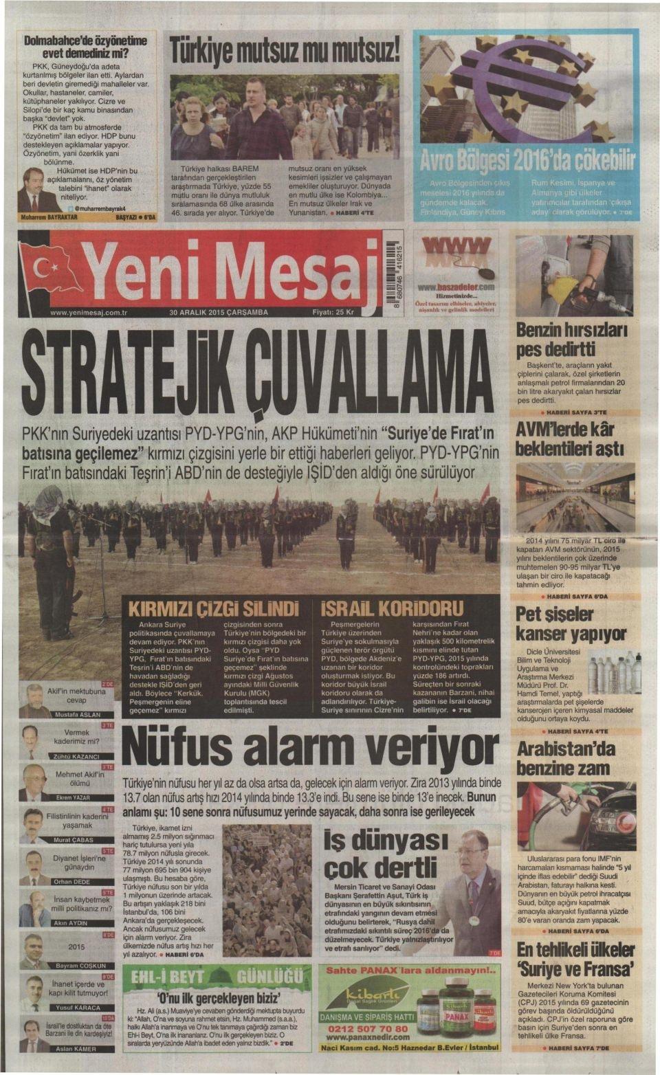 30 Aralık 2015 gazete manşetleri 33