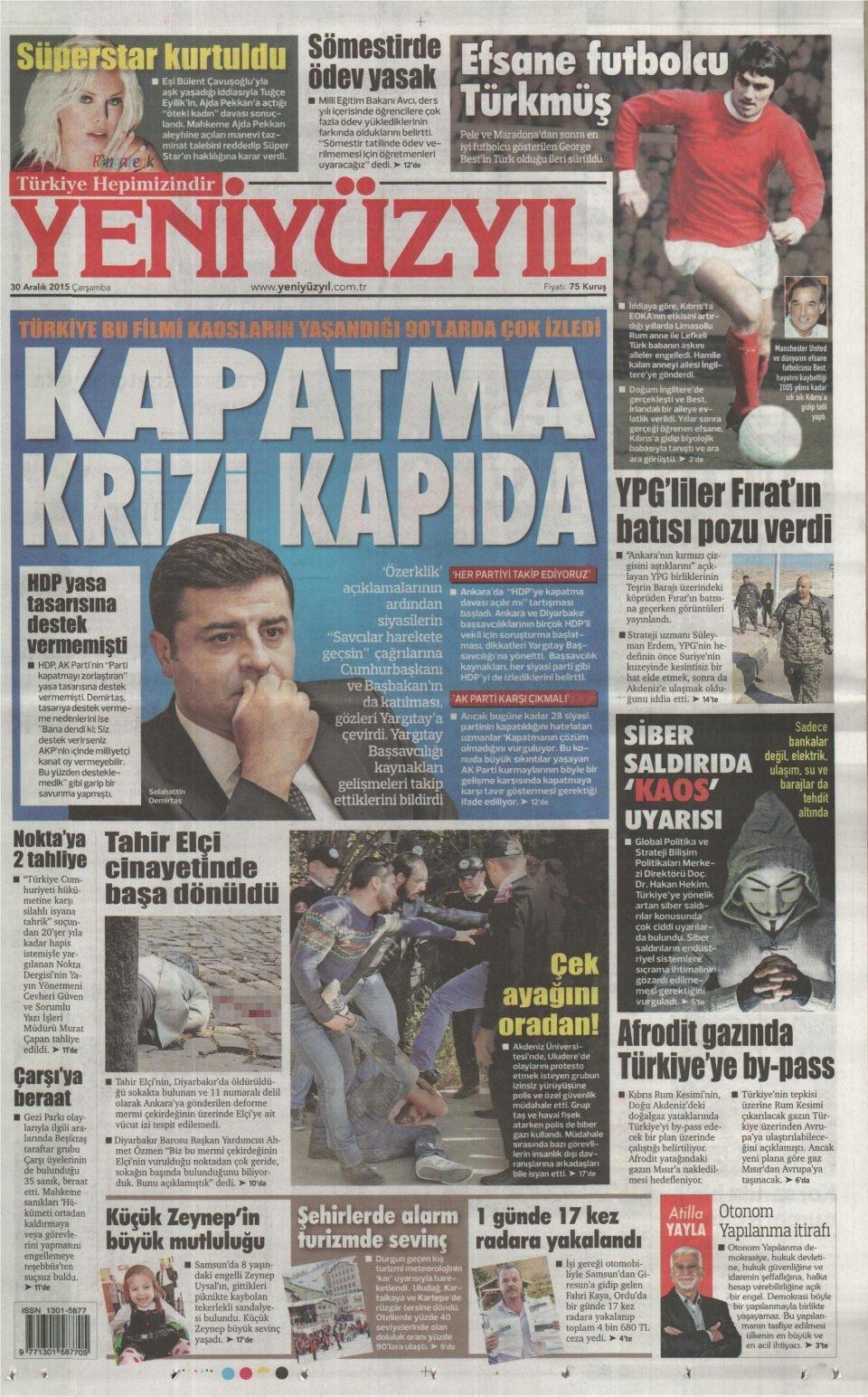 30 Aralık 2015 gazete manşetleri 35