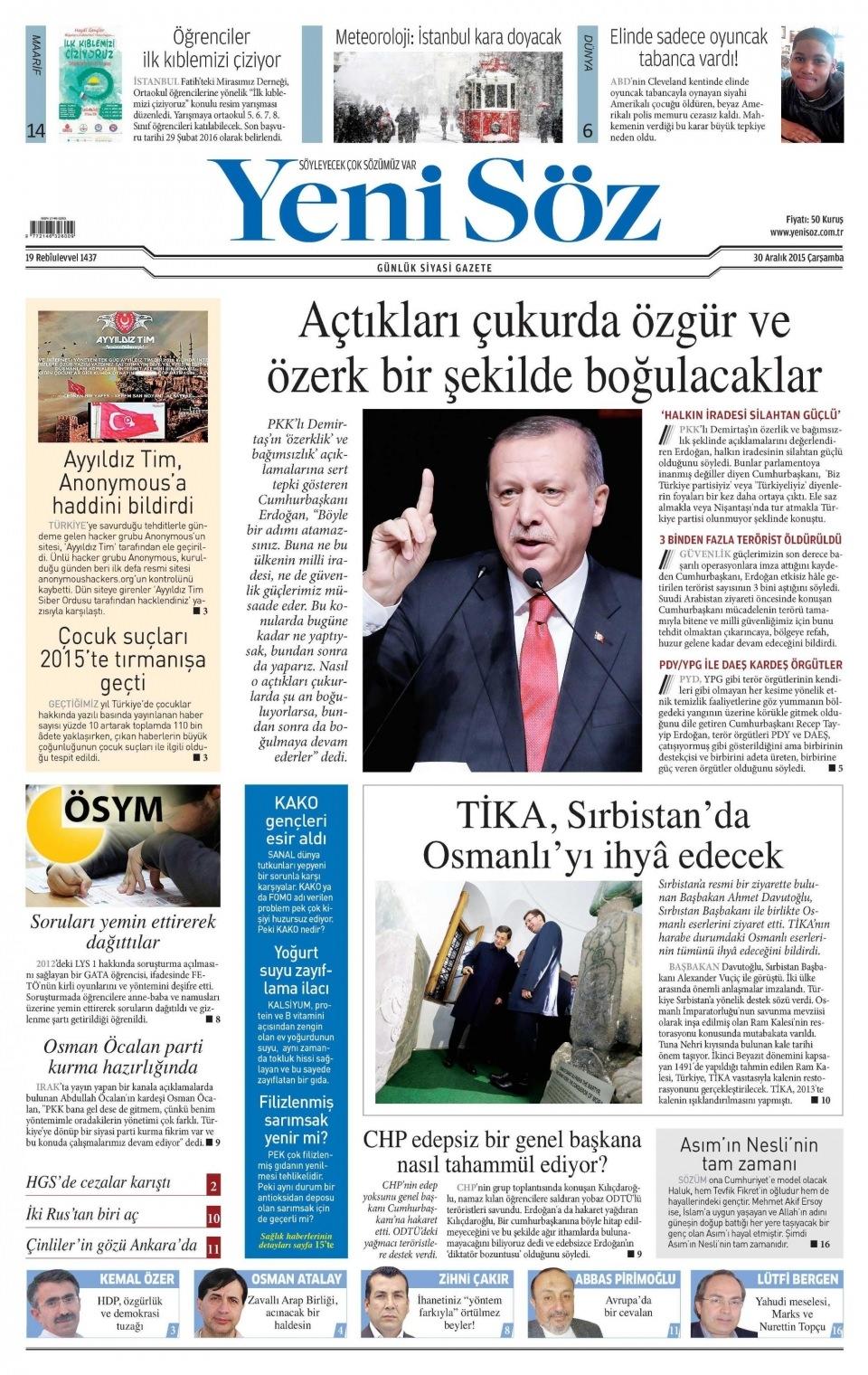 30 Aralık 2015 gazete manşetleri 36