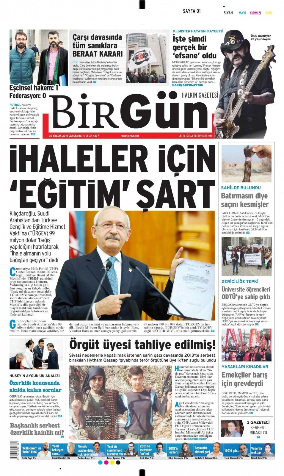 30 Aralık 2015 gazete manşetleri 4