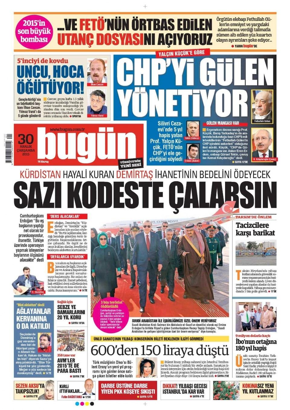 30 Aralık 2015 gazete manşetleri 5