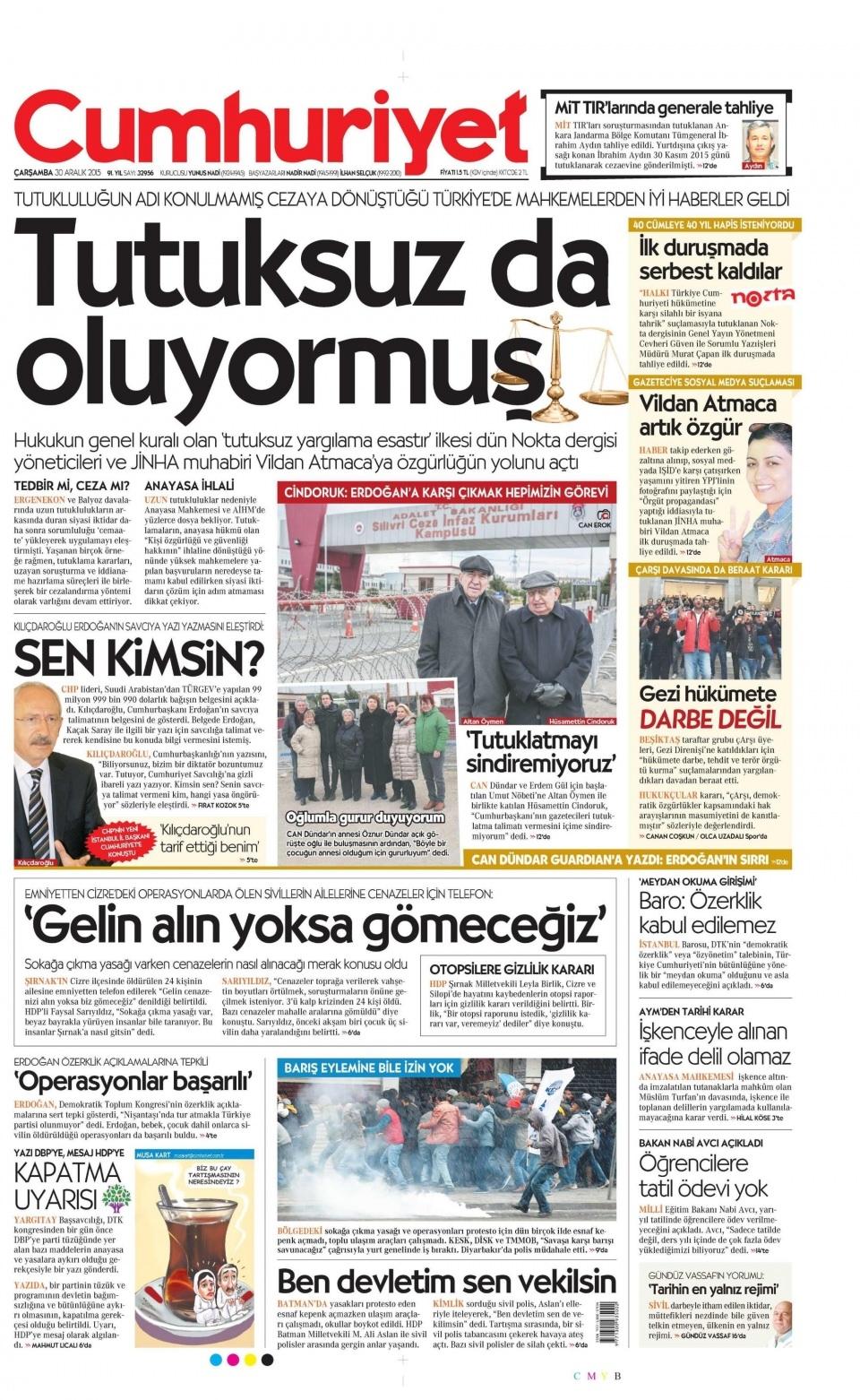 30 Aralık 2015 gazete manşetleri 6