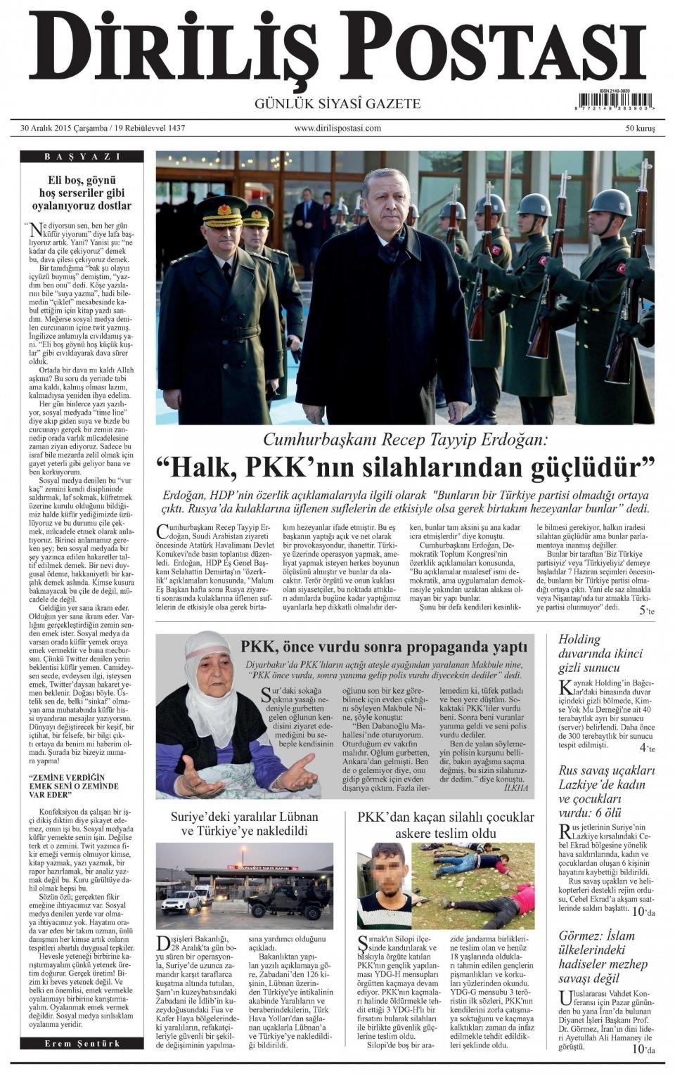 30 Aralık 2015 gazete manşetleri 7