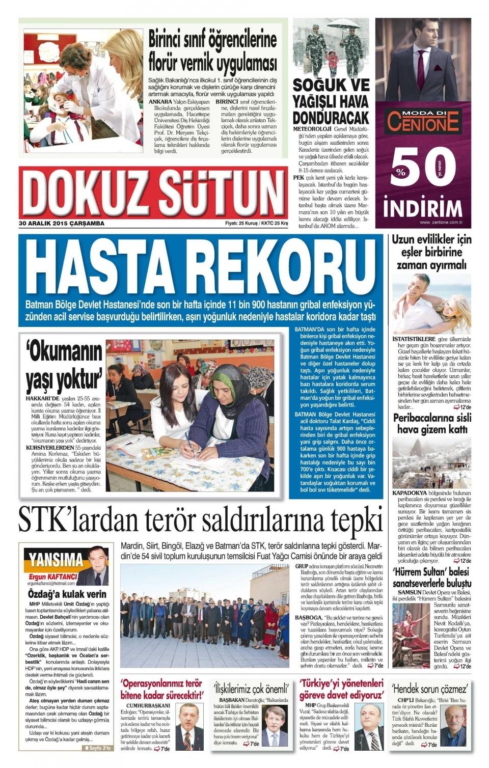 30 Aralık 2015 gazete manşetleri 8