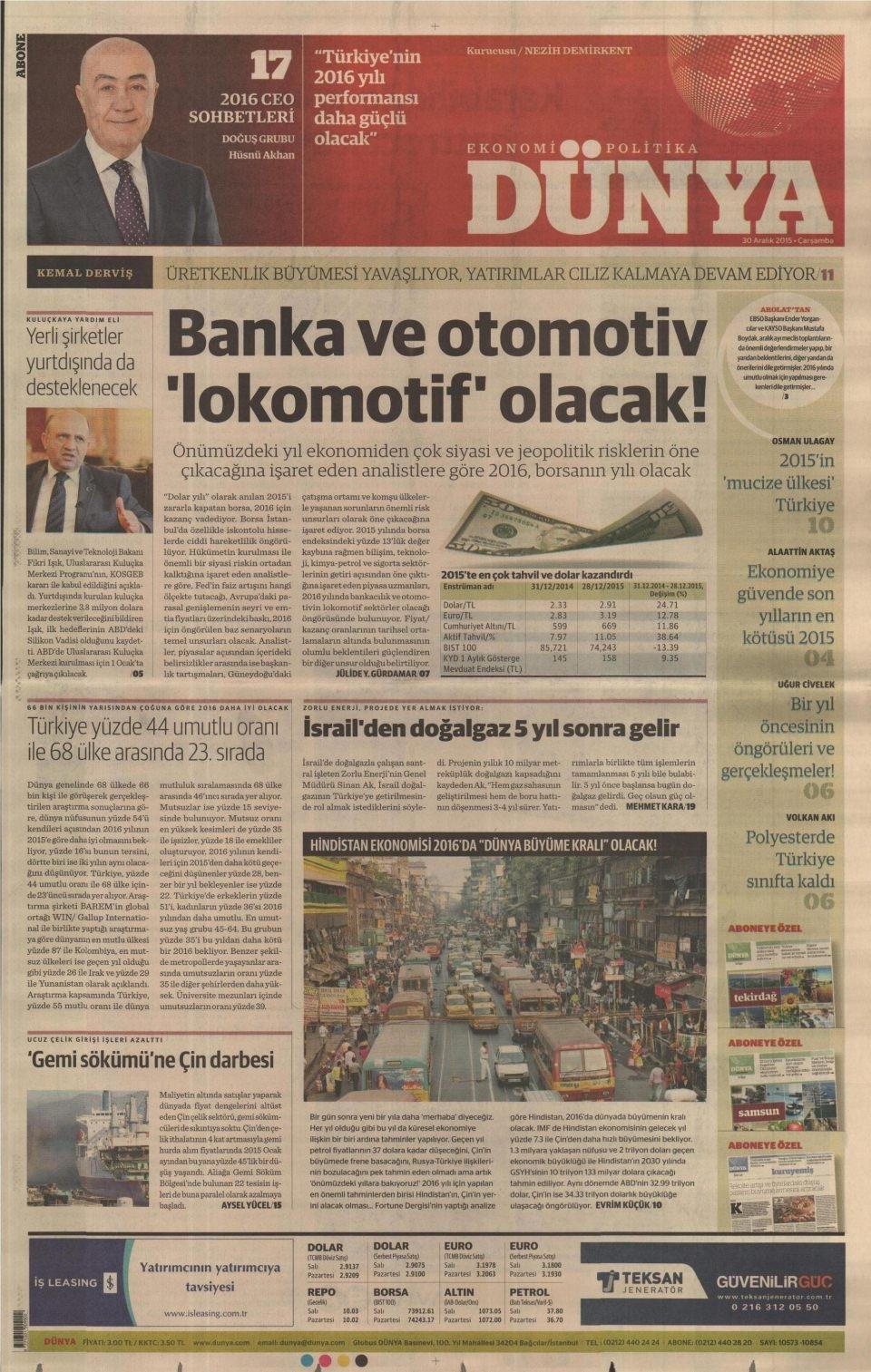 30 Aralık 2015 gazete manşetleri 9