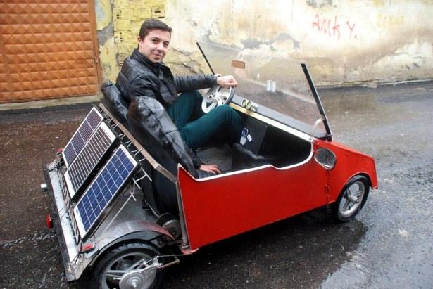 Liseli genç, güneş enerjisili otomobil yaptı 5