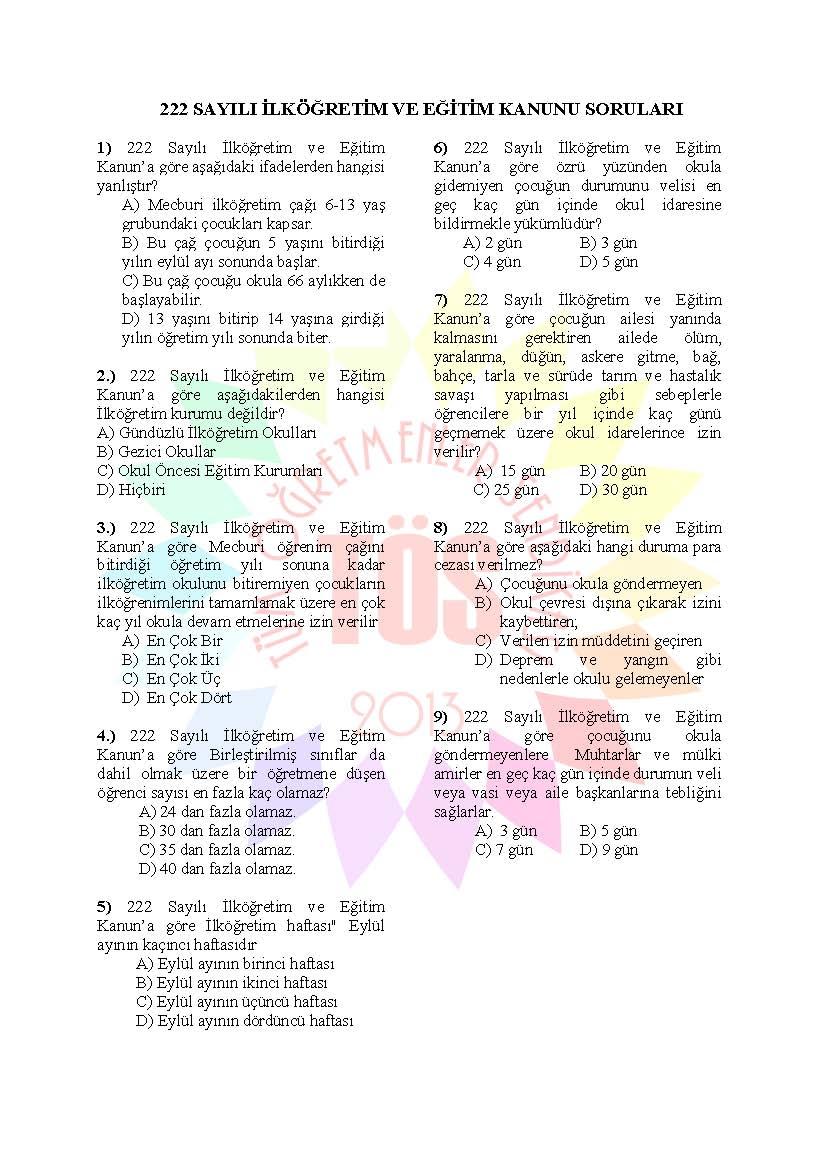 Müdür Yardımcılığı Sınavı Soru Bankası - 222 sayılı kanun 1