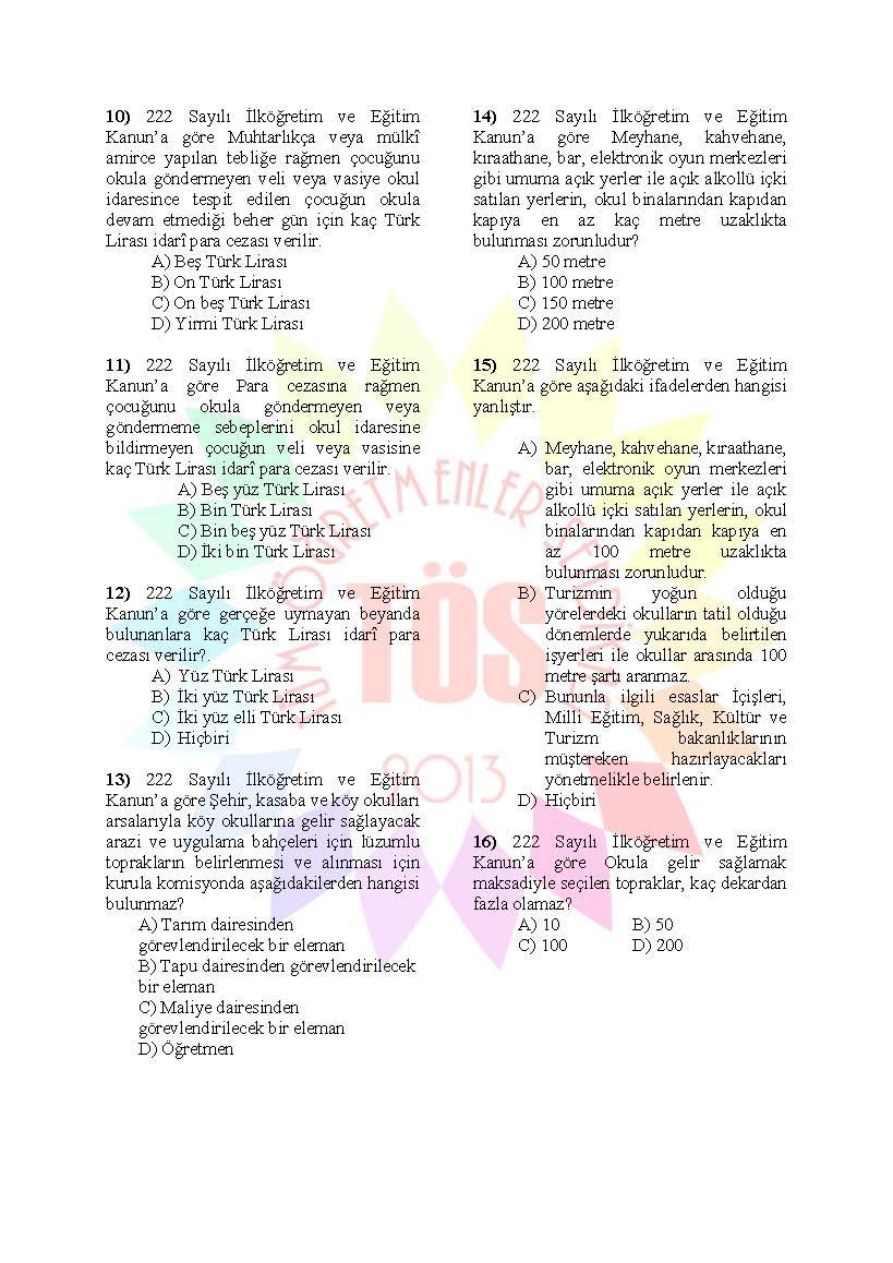 Müdür Yardımcılığı Sınavı Soru Bankası - 222 sayılı kanun 2
