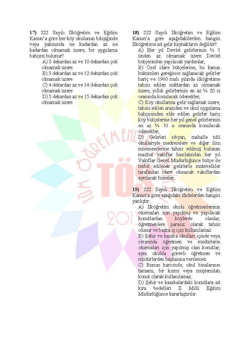 Müdür Yardımcılığı Sınavı Soru Bankası - 222 sayılı kanun 3