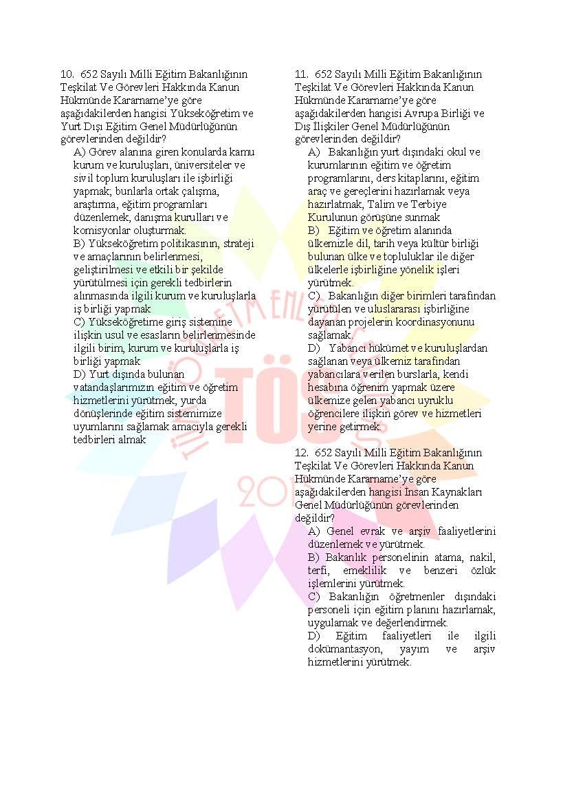 Müdür Yardımcılığı Sınavı Soru Bankası - 652 MEB Teşkilat 3