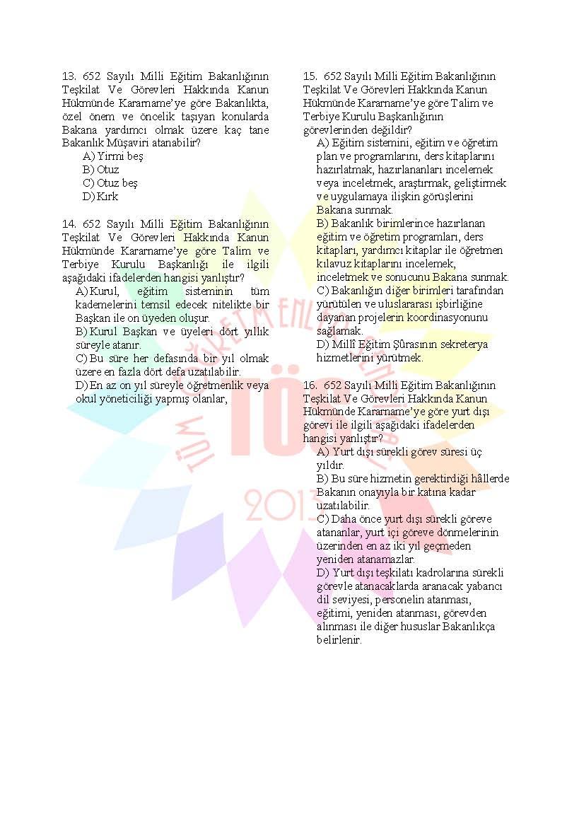 Müdür Yardımcılığı Sınavı Soru Bankası - 652 MEB Teşkilat 4