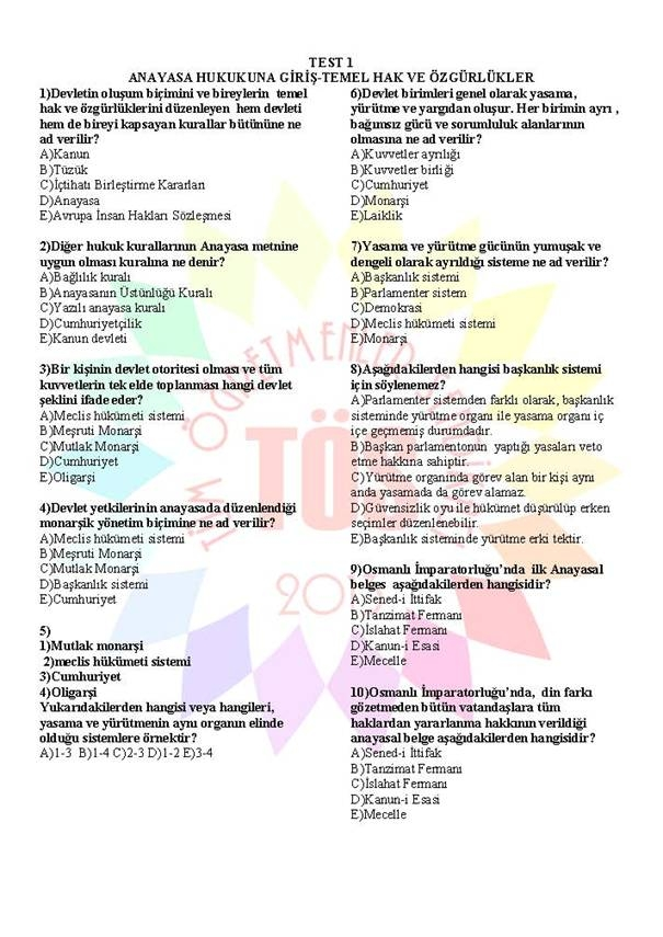 Müdür Yardımcılığı Sınavı Soru Bankası Anayasa 1 1