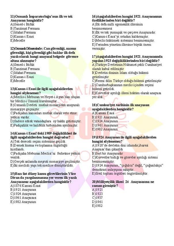 Müdür Yardımcılığı Sınavı Soru Bankası Anayasa 1 2