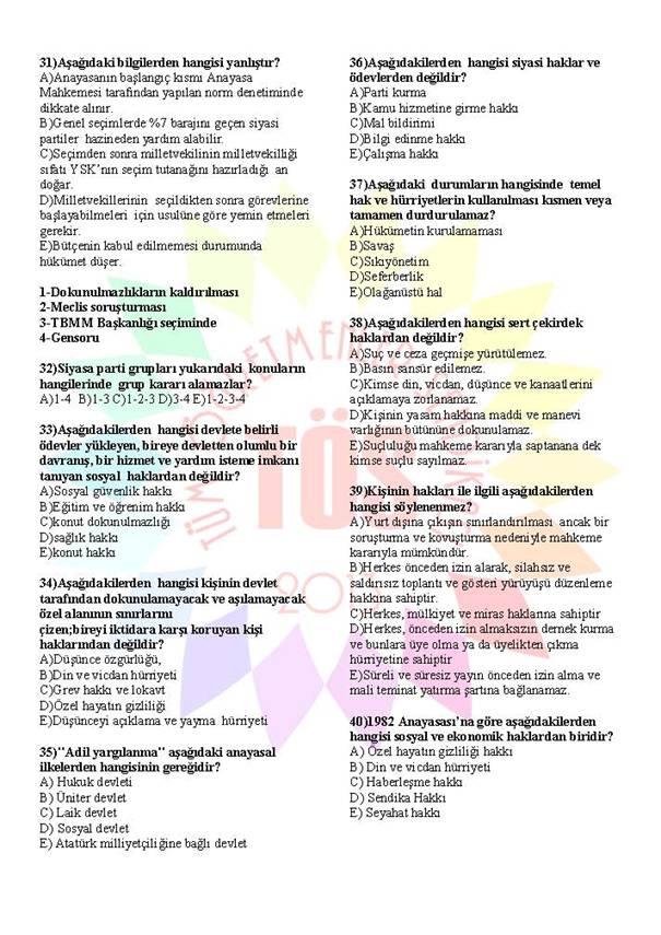 Müdür Yardımcılığı Sınavı Soru Bankası Anayasa 1 4