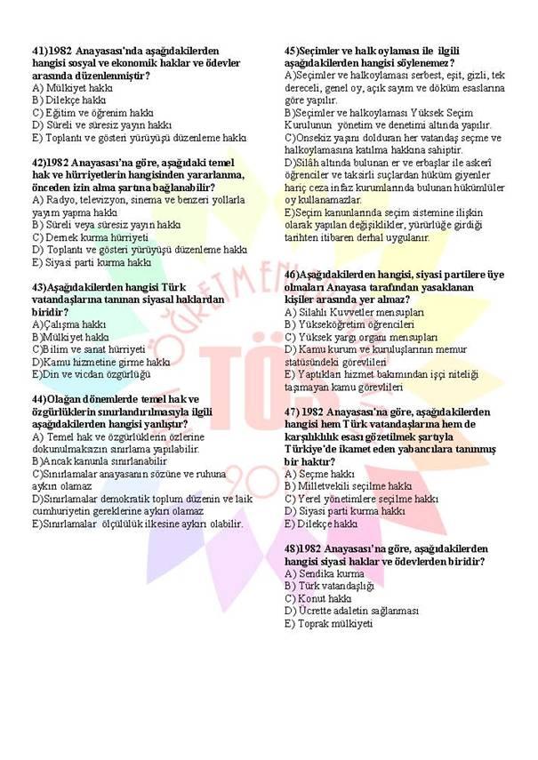 Müdür Yardımcılığı Sınavı Soru Bankası Anayasa 1 5