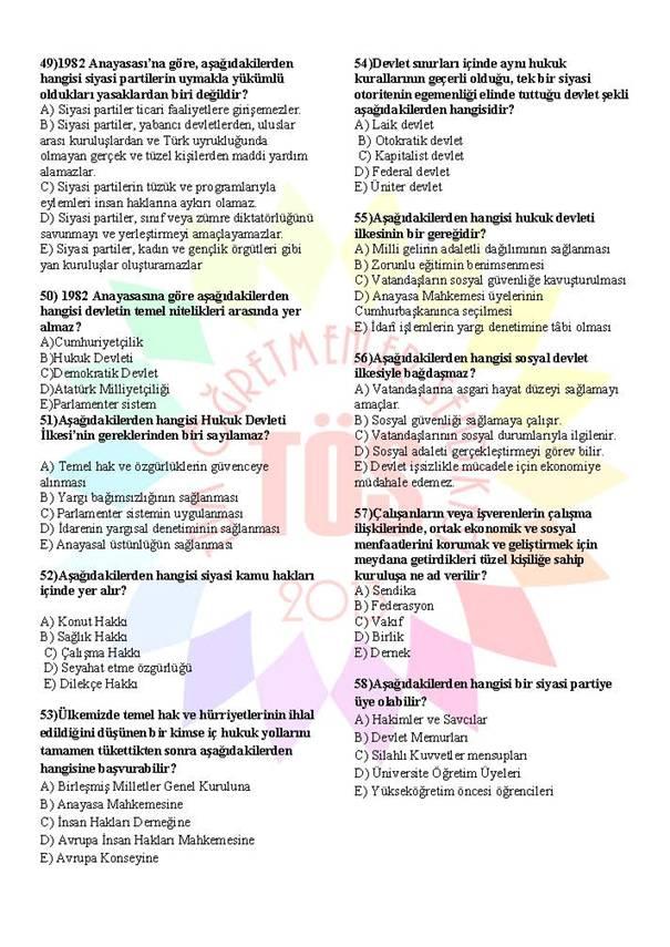 Müdür Yardımcılığı Sınavı Soru Bankası Anayasa 1 6