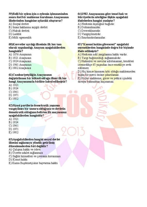 Müdür Yardımcılığı Sınavı Soru Bankası Anayasa 1 7