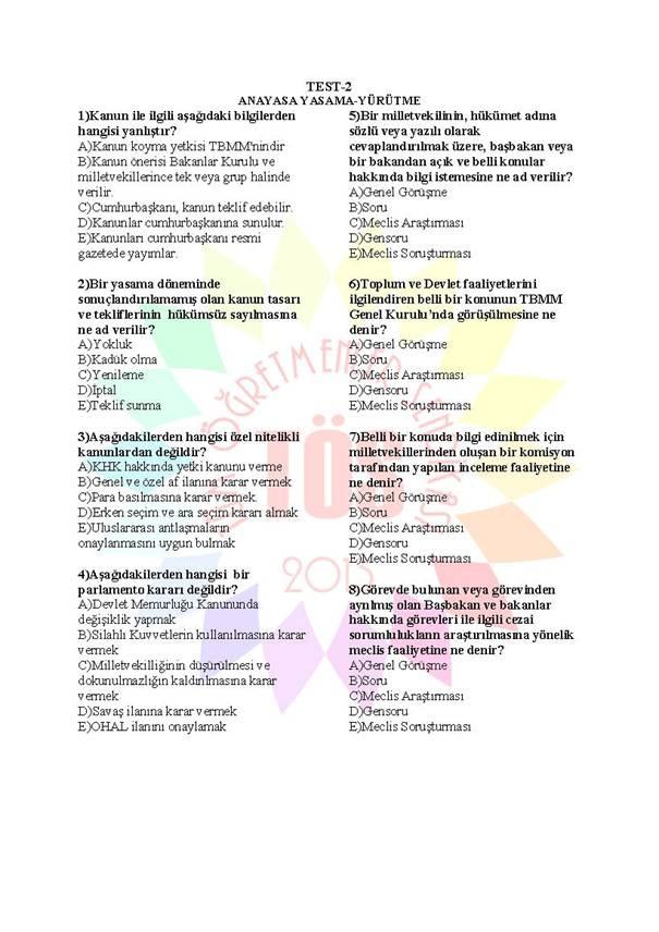 Müdür Yardımcılığı Sınavı Soru Bankası Anayasa 2 1