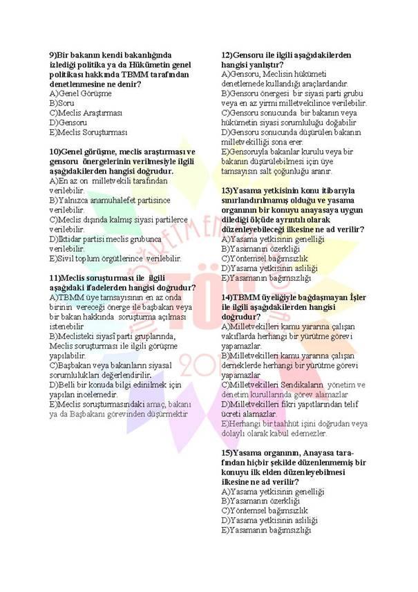 Müdür Yardımcılığı Sınavı Soru Bankası Anayasa 2 2