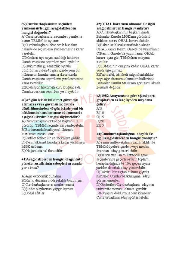 Müdür Yardımcılığı Sınavı Soru Bankası Anayasa 2 6
