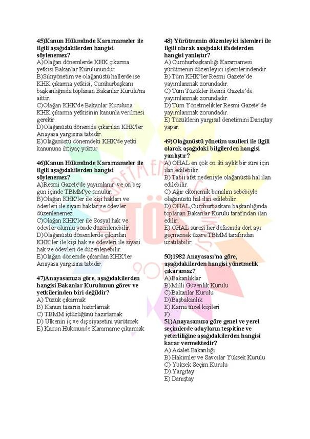 Müdür Yardımcılığı Sınavı Soru Bankası Anayasa 2 7