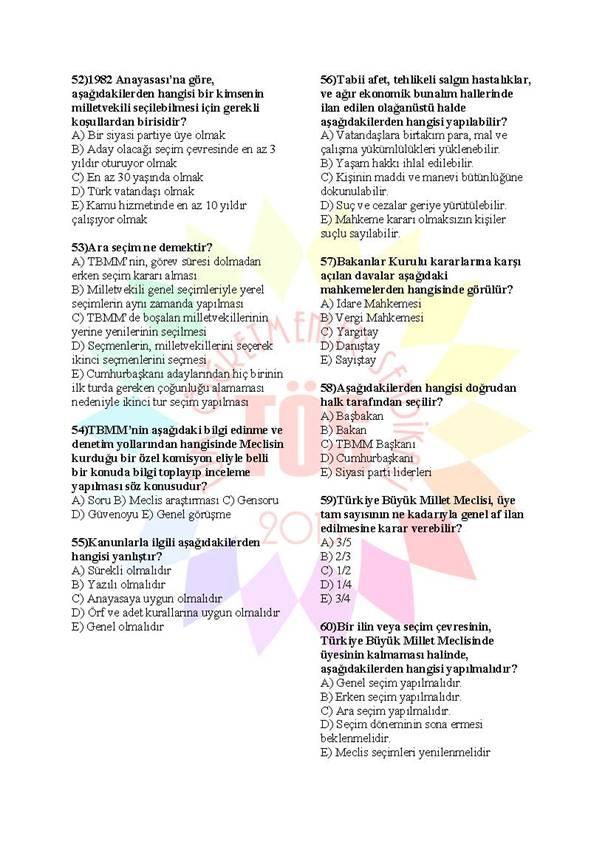 Müdür Yardımcılığı Sınavı Soru Bankası Anayasa 2 8