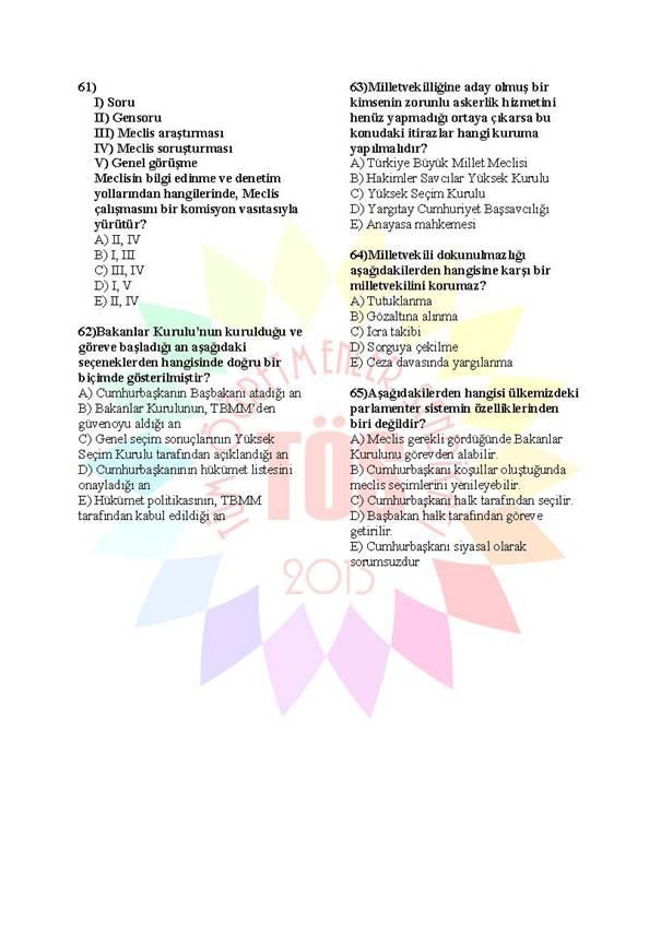 Müdür Yardımcılığı Sınavı Soru Bankası Anayasa 2 9