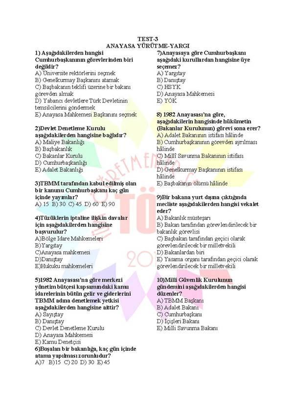 Müdür Yardımcılığı Sınavı Soru Bankası Anayasa 3 1