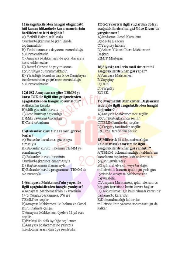 Müdür Yardımcılığı Sınavı Soru Bankası Anayasa 3 2