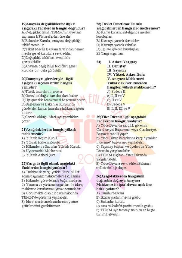 Müdür Yardımcılığı Sınavı Soru Bankası Anayasa 3 3