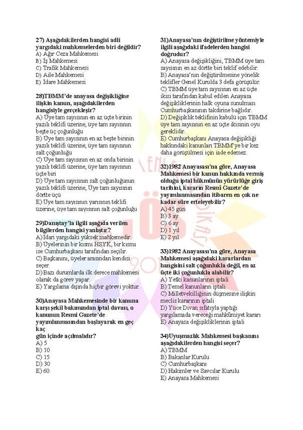 Müdür Yardımcılığı Sınavı Soru Bankası Anayasa 3 4