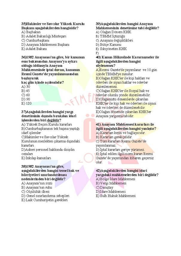 Müdür Yardımcılığı Sınavı Soru Bankası Anayasa 3 5