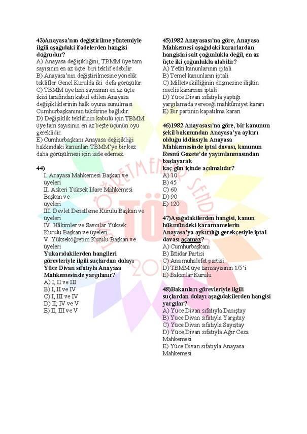 Müdür Yardımcılığı Sınavı Soru Bankası Anayasa 3 6