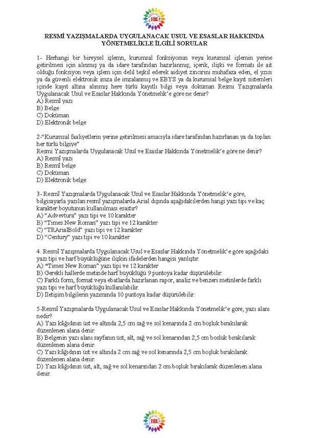 Müdür Yardımcılığı Sınavı Soru Bankası - Resmi Yazışmalar 1