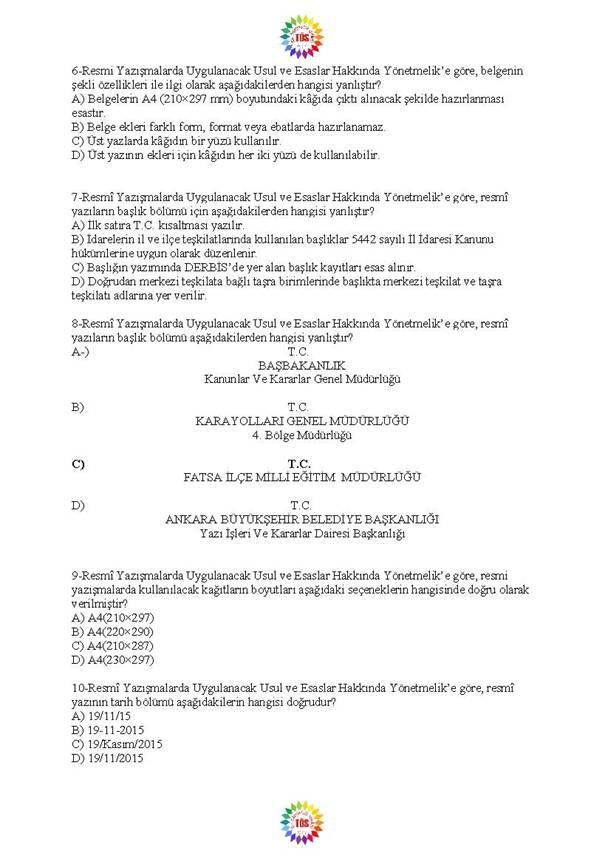 Müdür Yardımcılığı Sınavı Soru Bankası - Resmi Yazışmalar 2