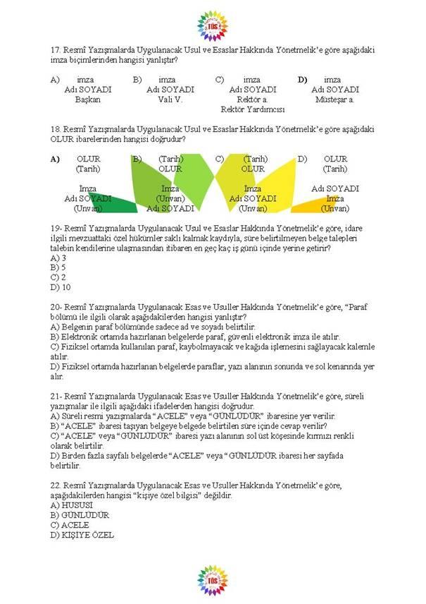Müdür Yardımcılığı Sınavı Soru Bankası - Resmi Yazışmalar 4