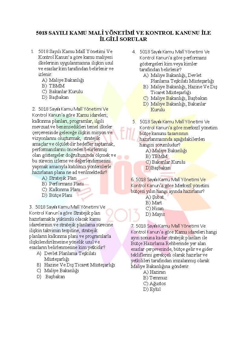 Müdür Yardımcılığı Hazırlık Soruları  5018 Kamu Malî Yönetimi Ve Kontrol 1