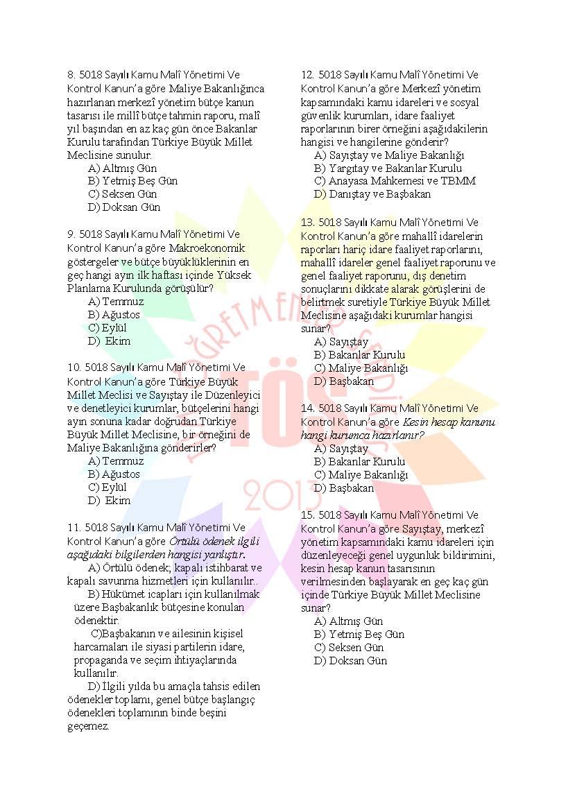 Müdür Yardımcılığı Hazırlık Soruları  5018 Kamu Malî Yönetimi Ve Kontrol 2
