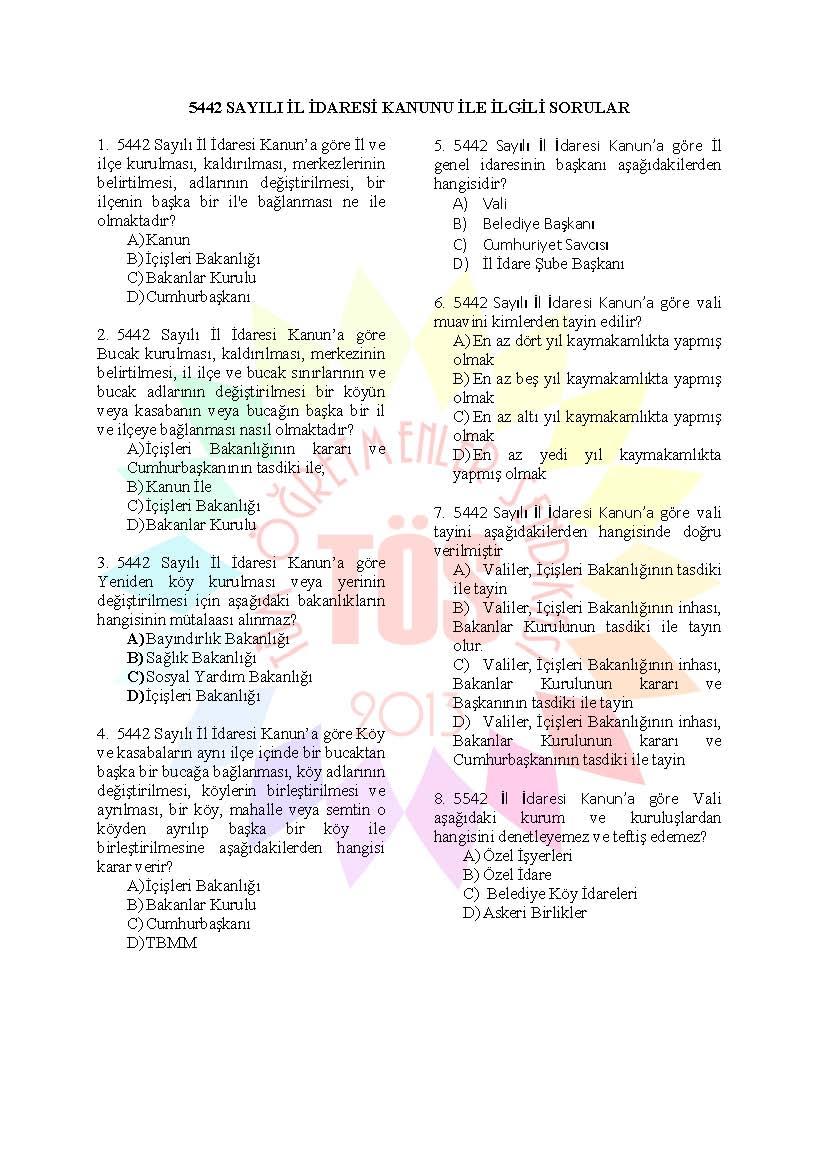 Müdür Yardımcılığı Hazırlık Soruları  5442 Sayılı İl İdaresi Kanunu 1