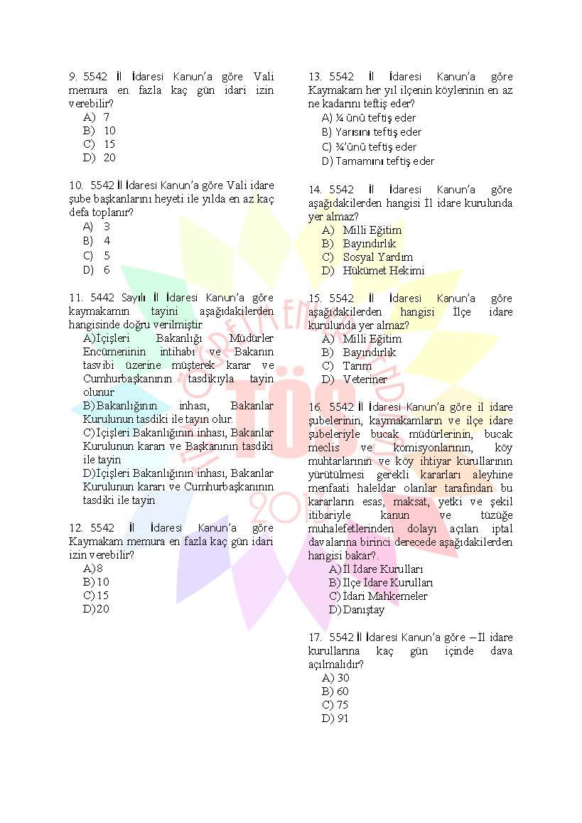 Müdür Yardımcılığı Hazırlık Soruları  5442 Sayılı İl İdaresi Kanunu 2