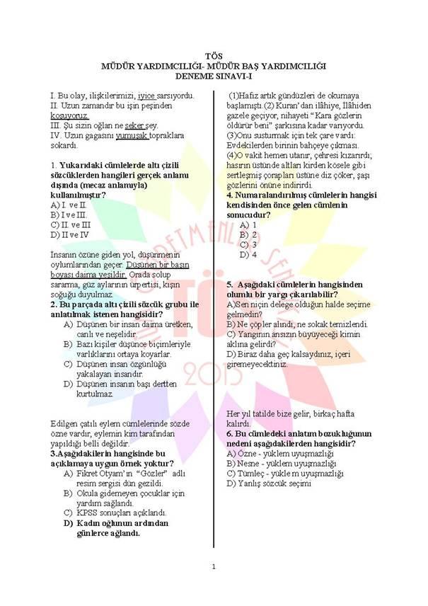 Müdür Yardımcılığı Deneme Sınavı 1 - 2016 1