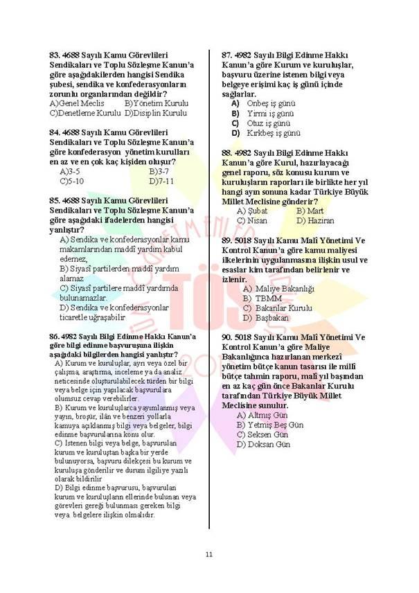 Müdür Yardımcılığı Deneme Sınavı 1 - 2016 11