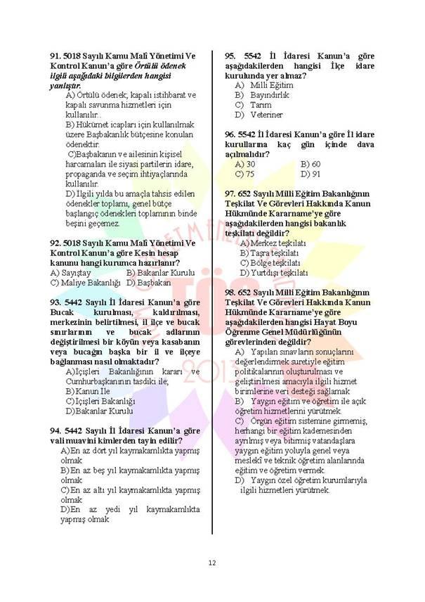 Müdür Yardımcılığı Deneme Sınavı 1 - 2016 12