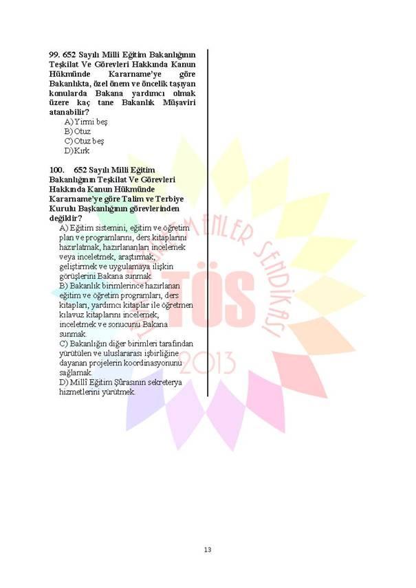 Müdür Yardımcılığı Deneme Sınavı 1 - 2016 13