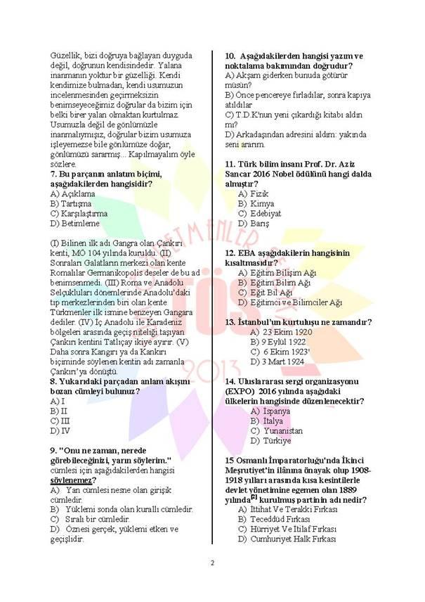 Müdür Yardımcılığı Deneme Sınavı 1 - 2016 2