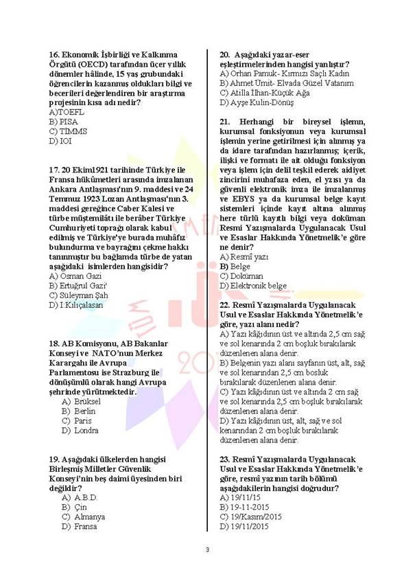Müdür Yardımcılığı Deneme Sınavı 1 - 2016 3