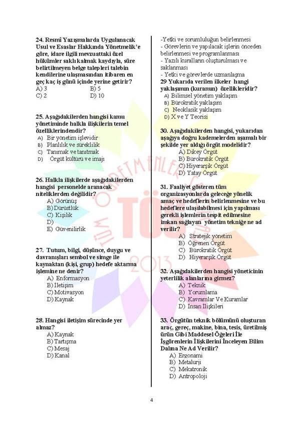 Müdür Yardımcılığı Deneme Sınavı 1 - 2016 4