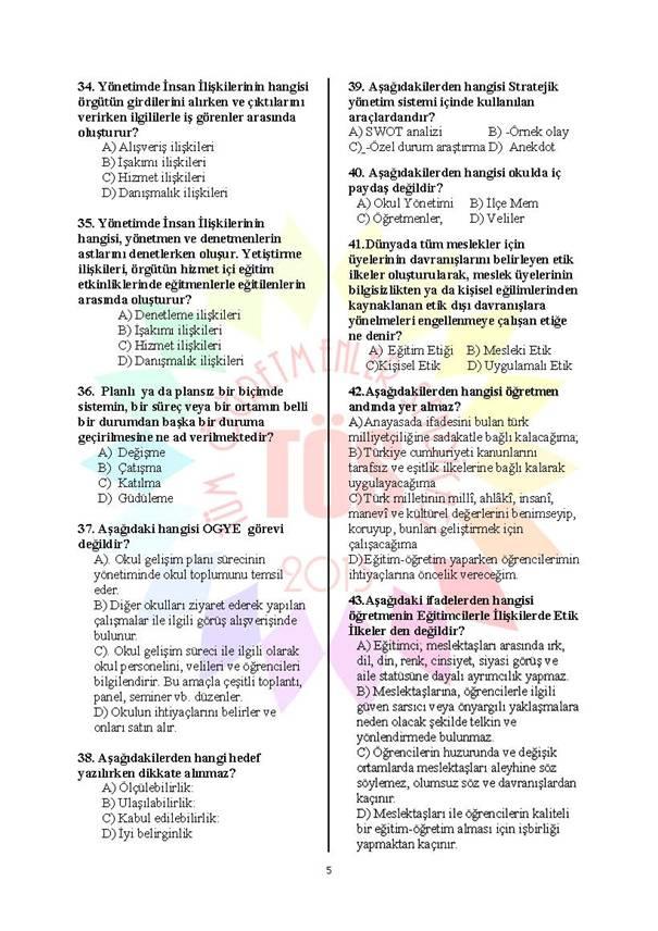 Müdür Yardımcılığı Deneme Sınavı 1 - 2016 5