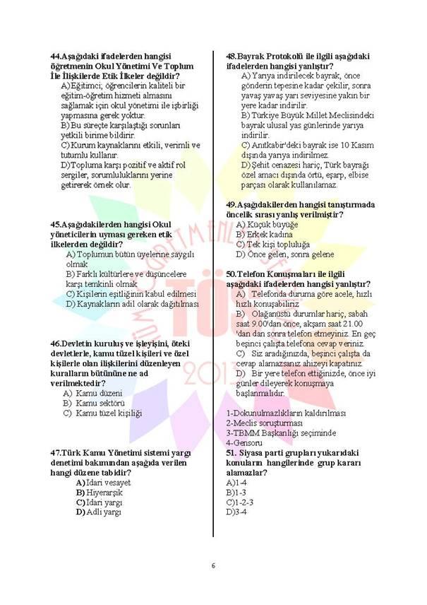 Müdür Yardımcılığı Deneme Sınavı 1 - 2016 6