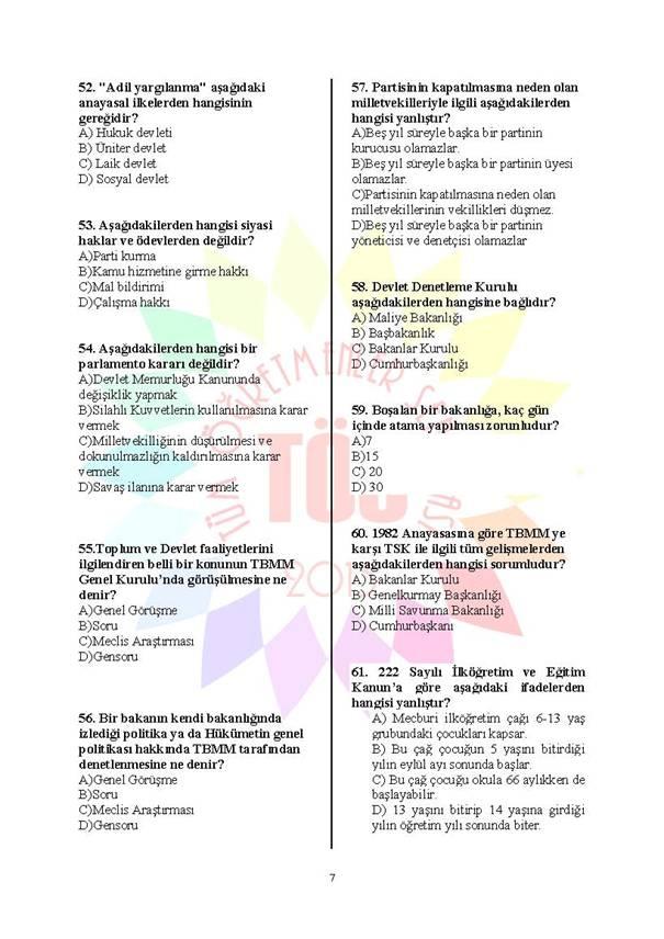 Müdür Yardımcılığı Deneme Sınavı 1 - 2016 7